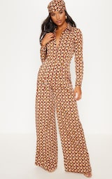 576affd91a0 Rust Geo Oversized Wide Leg Jumpsuit image 2