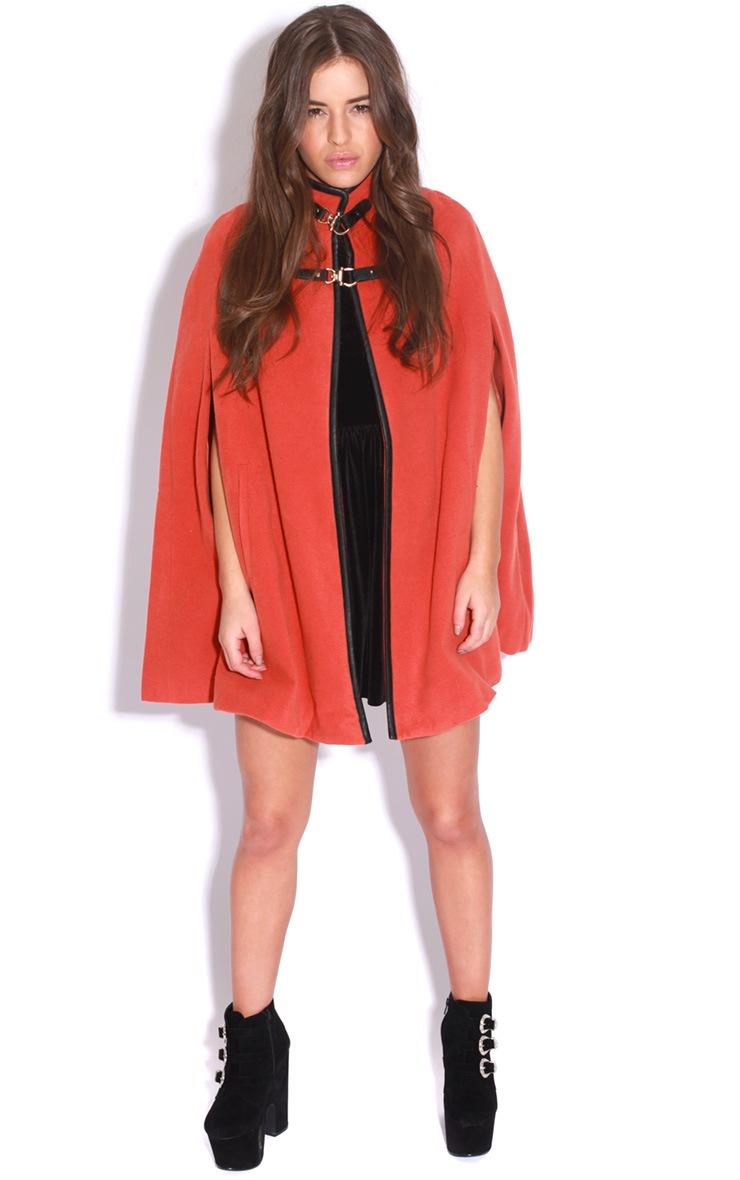 Renata Orange Buckle Cape Coat 3