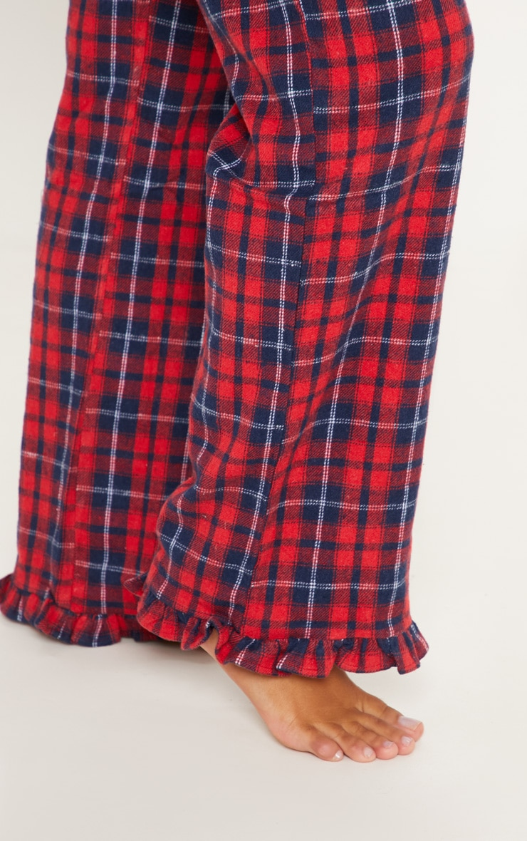 PRETTYLITTLETHING Red Check Frill Hem PJ Bottom 4