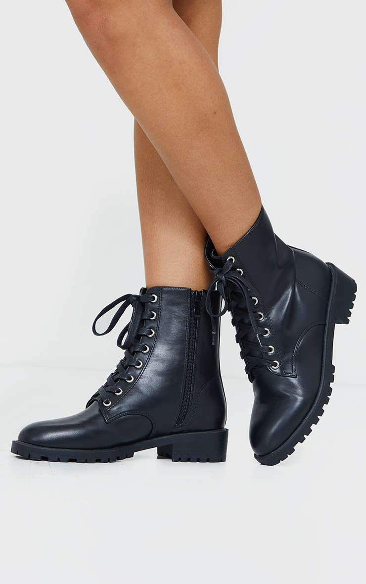 Black Basic PU Biker Boots 1