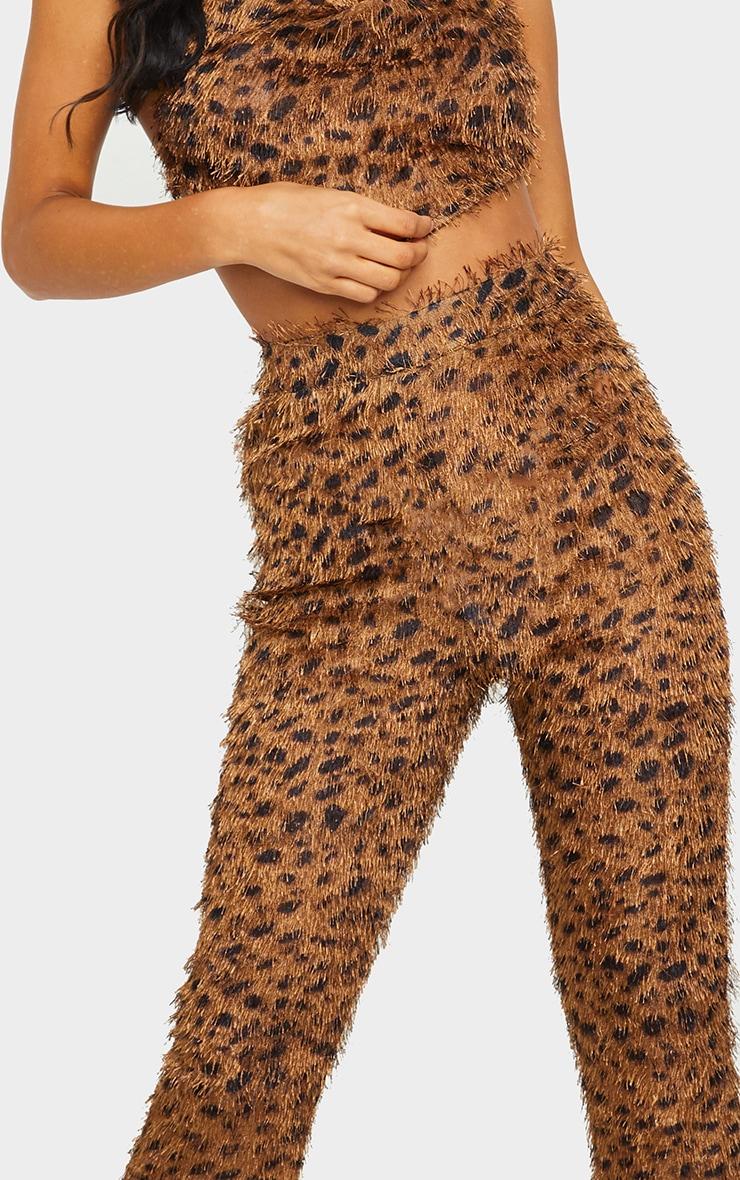 Brown Leopard Print Eyelash High Waisted Flared Pants 4