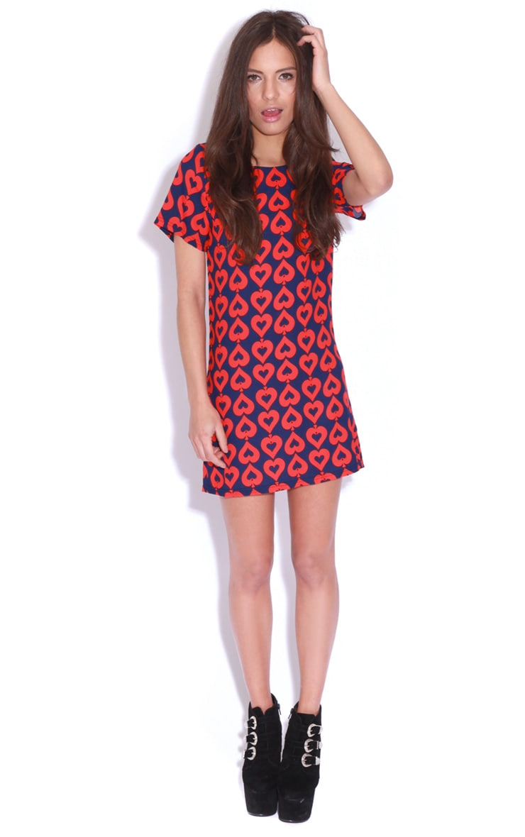 Carrie Red & Blue Ace Of Spades Shift Dress -S/M 3
