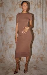 Recycled Maternity Chocolate Contour Jersey Short Sleeve Midi Dress 3