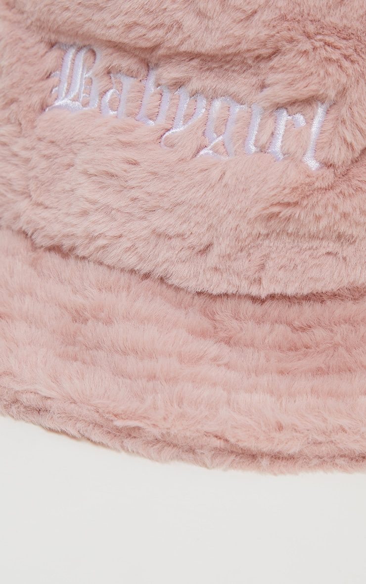 Pink Babygirl Slogan Faux Fur Bucket Hat 3