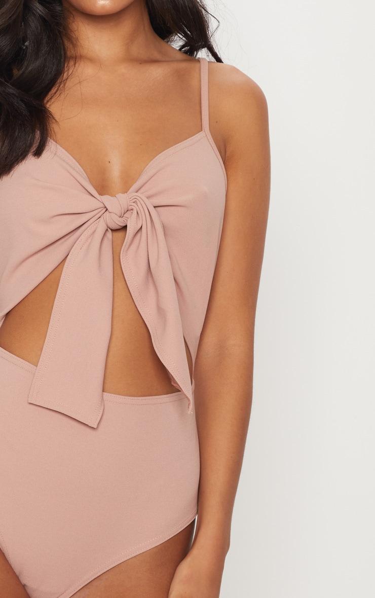 Dusty Pink Tie Detail Cut Out Bodysuit 6