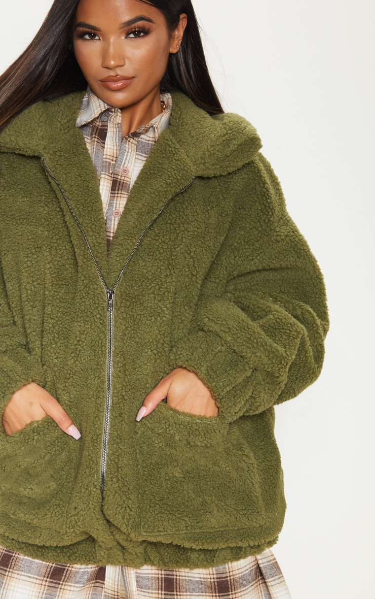Khaki Oversized Borg Pocket Front Coat 5