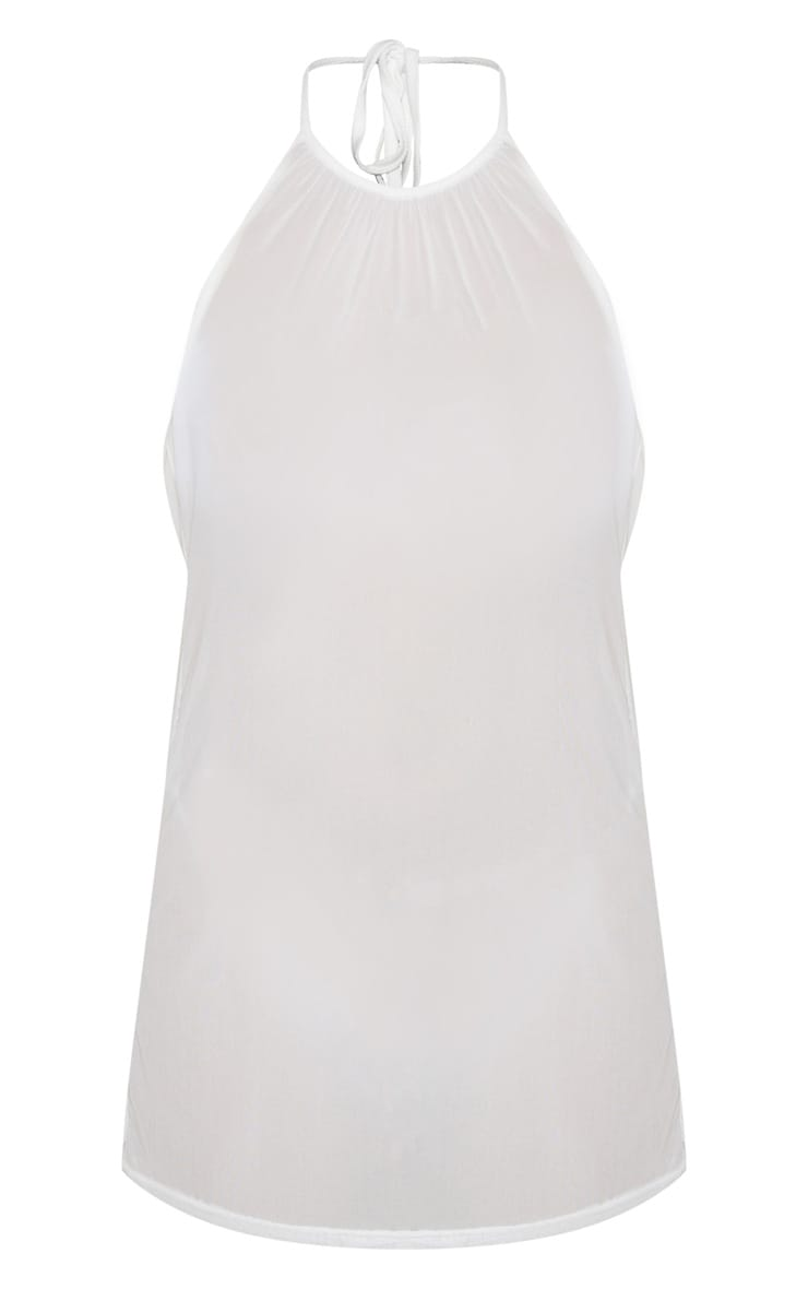 White Basic Mesh Beach Dress 6