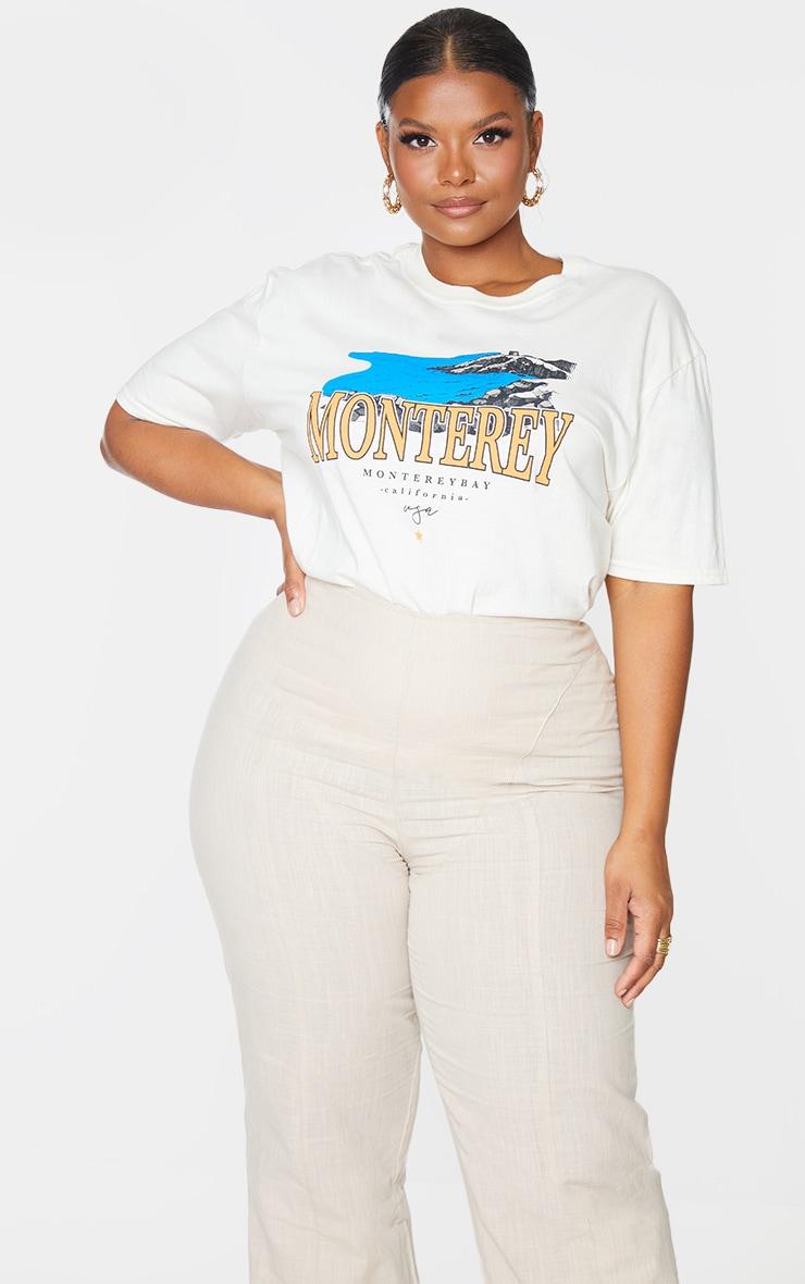 Plus Cream Monteray Print T Shirt 3