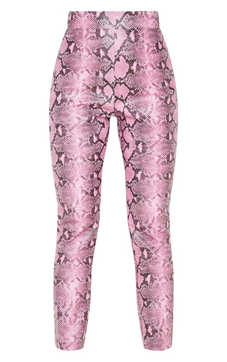 Pink PU Snake Skinny Trousers 3