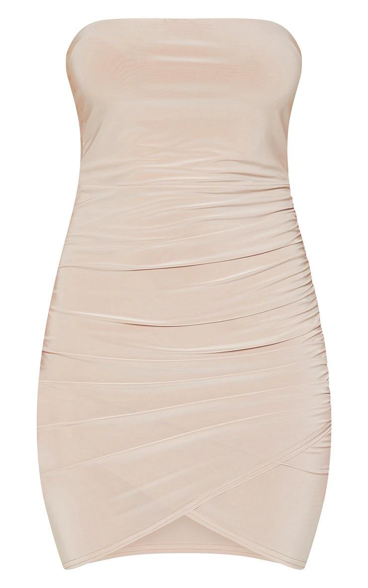 Stone Bandeau Wrap Bodycon Dress 3