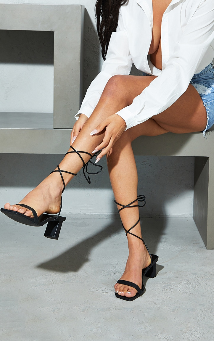 Black Wide Fit PU Square Toe Lace Up Low Block Heeled Sandals 1