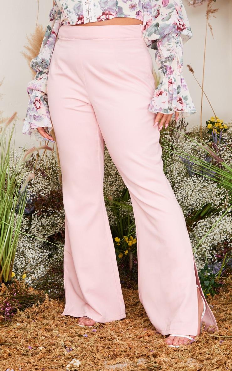 Plus Blush Split Detail Flared Pants 2
