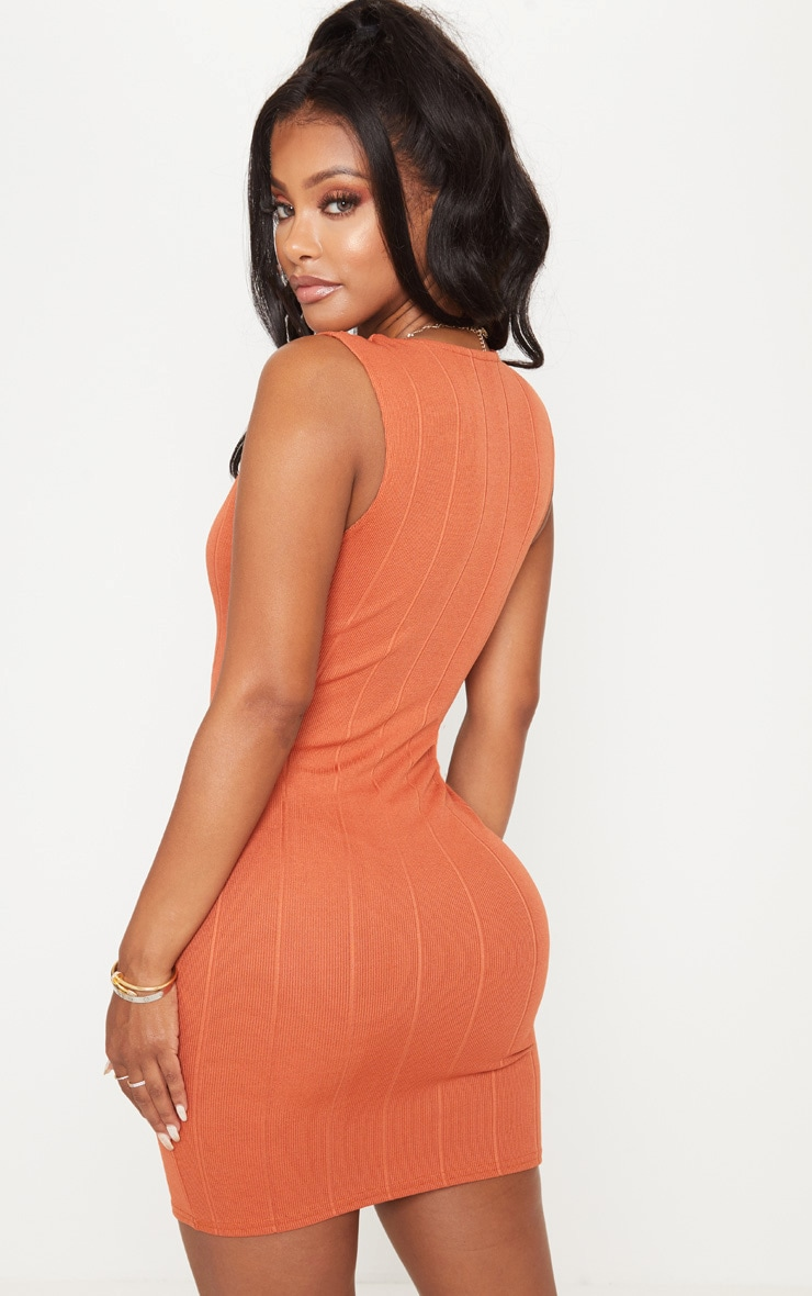 Shape Rust Bandage Plunge Bodycon Dress 2