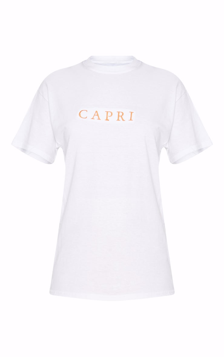 White Embroidered Capri Oversized Tshirt 3