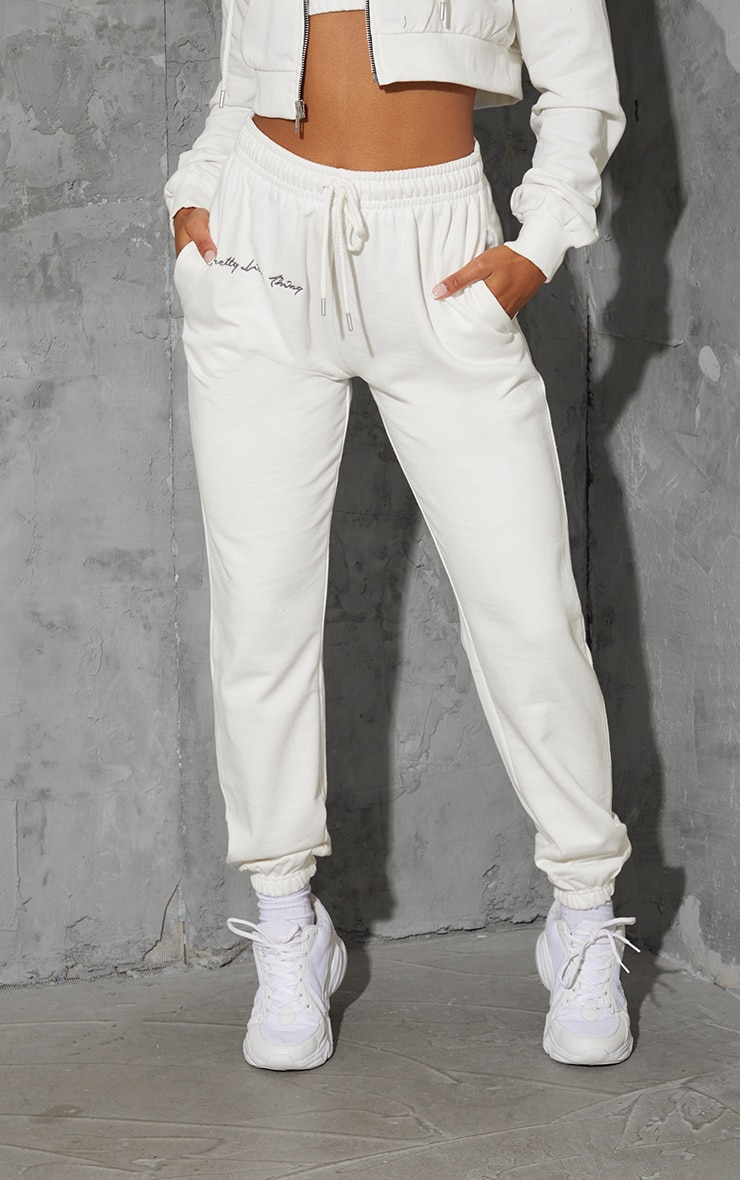 PRETTYLITTLETHING Cream Embroidered Oversized Joggers 2