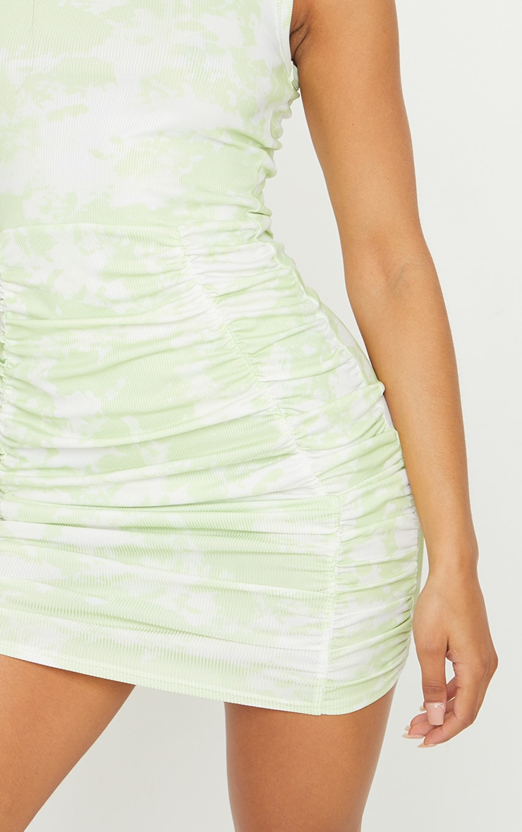 Lime Ribbed Tie Dye Ruched Sleeveless Bodycon Dress 4