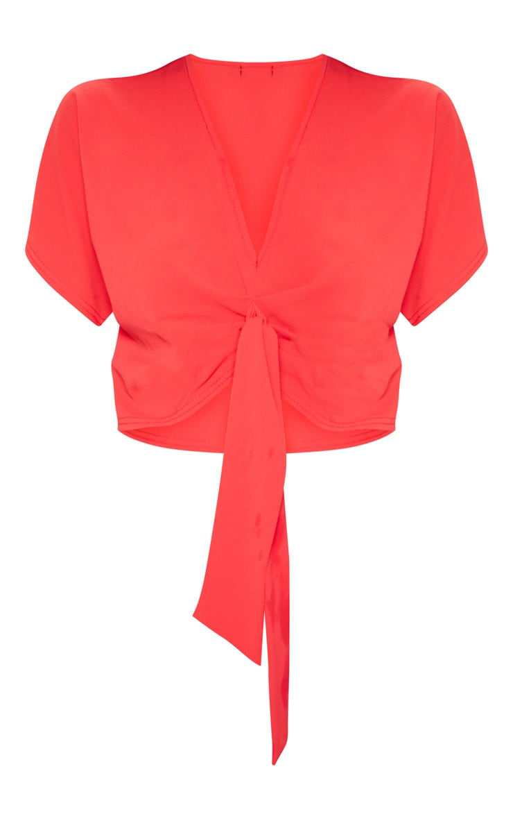 Red Chiffon Knot Front Short Sleeve Crop Blouse  3