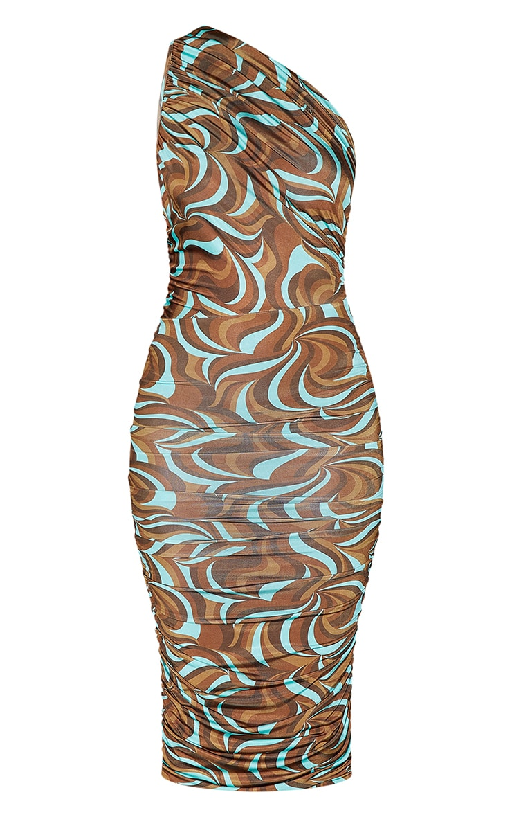 Multi Abstract Print Slinky One Shoulder Ruched Midi Dress 5