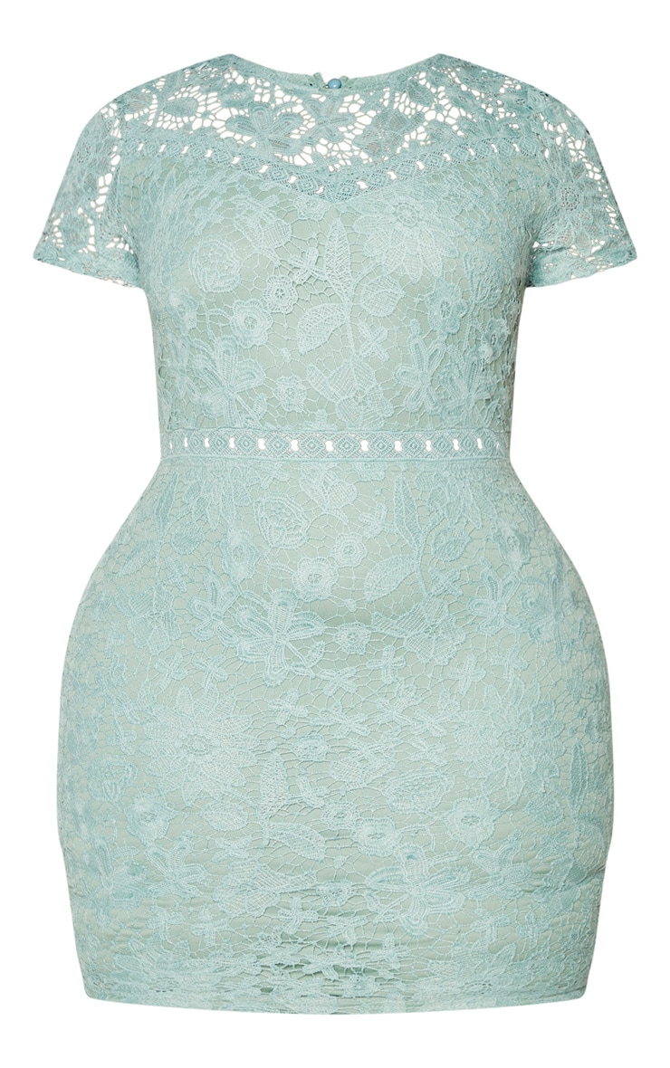 Plus Green Lace Backless Cap Sleeve Bodycon Dress 5