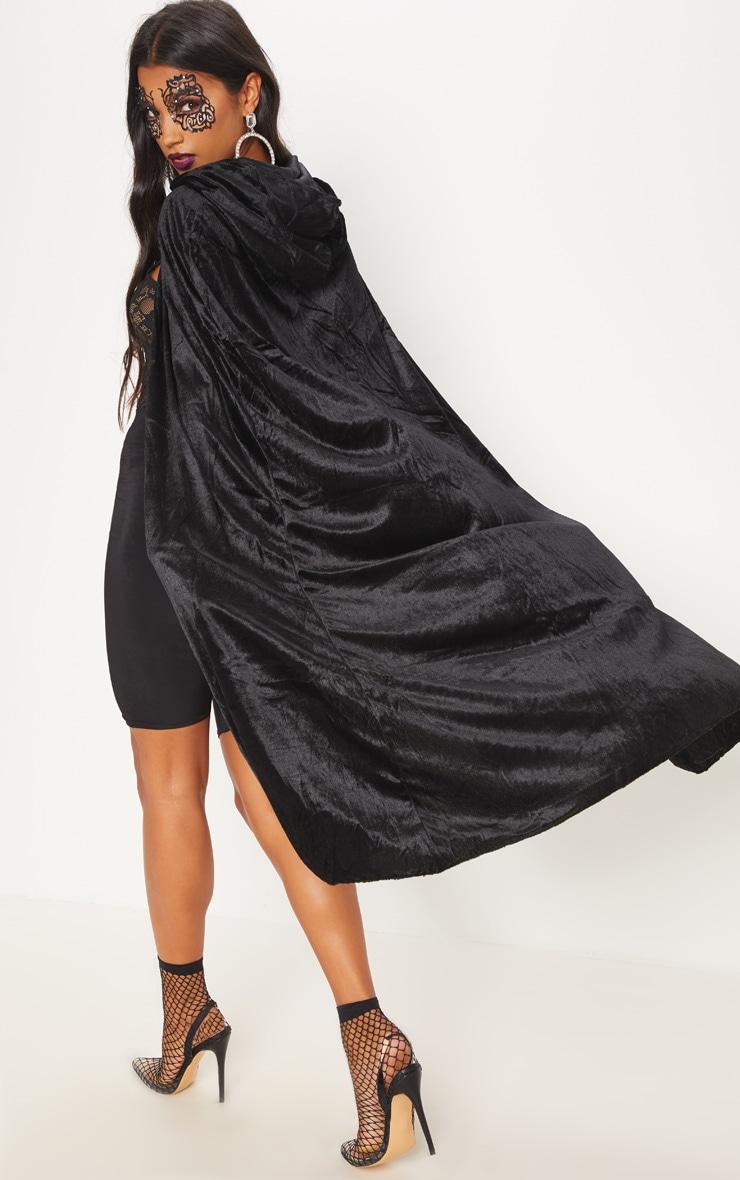 Hood Black Velvet Cape Fancy Dress Outfit 2