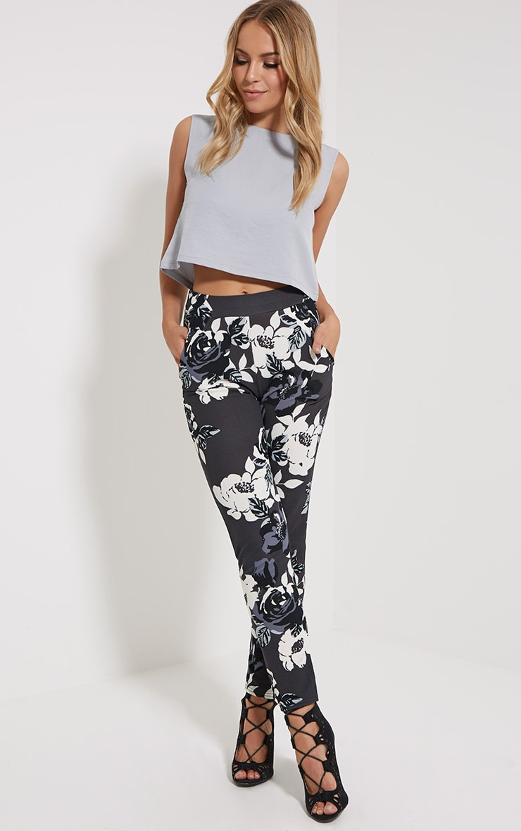 Zafier Grey Floral Trousers 1