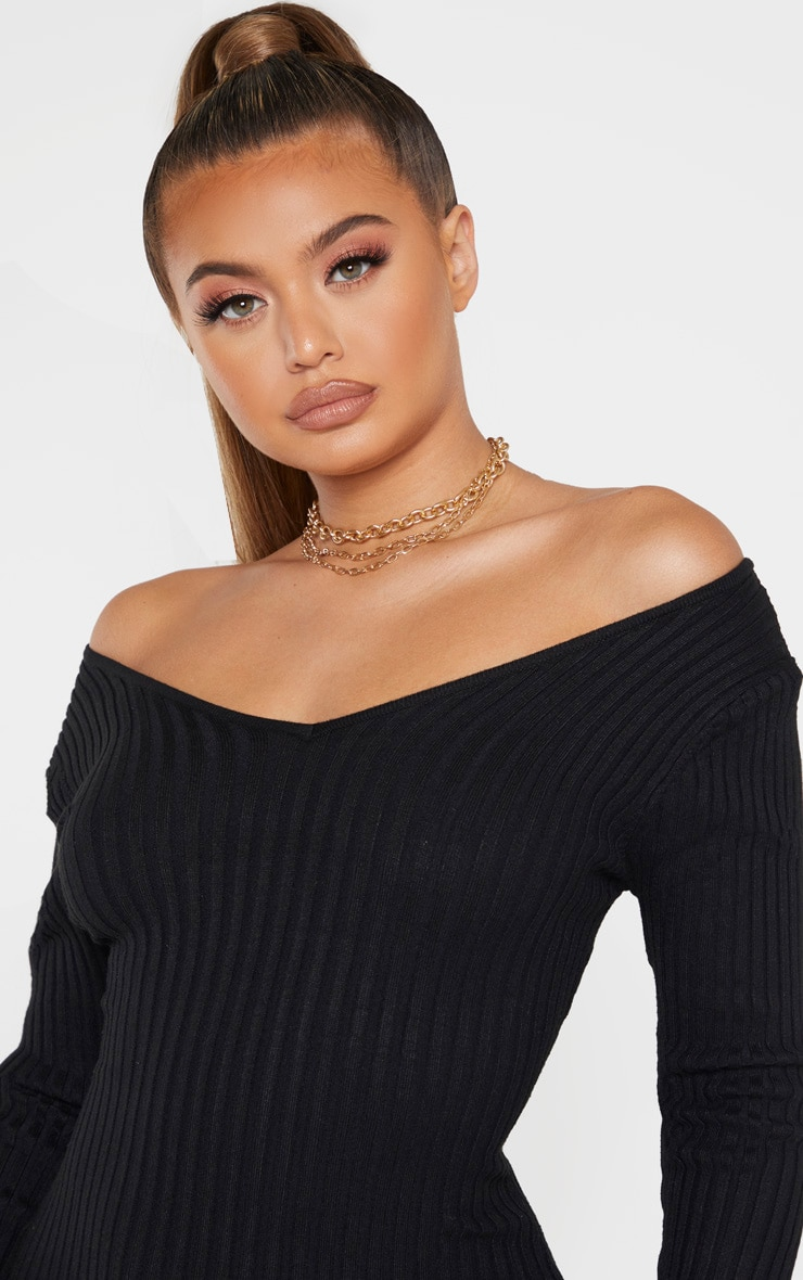 Black Off Shoulder Rib Knitted Midaxi Dress 5