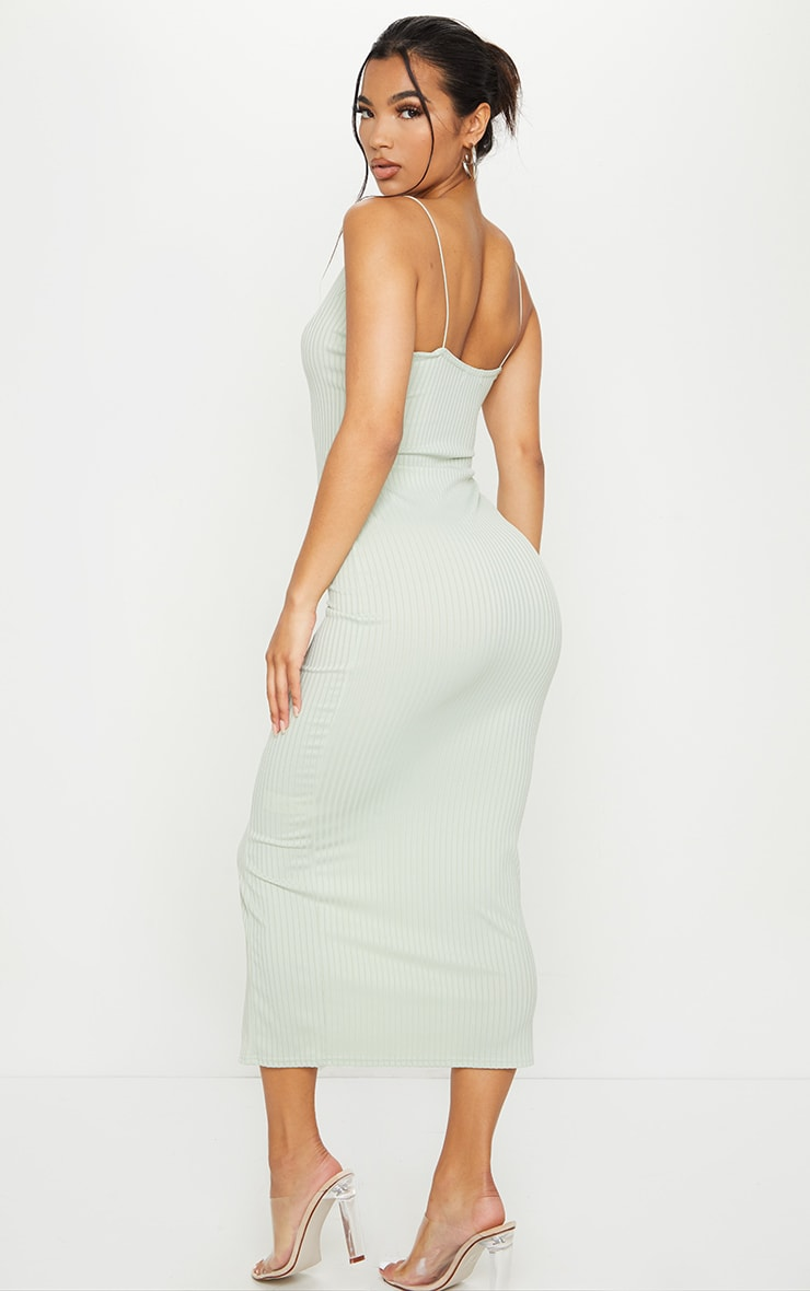 Sage Green Strappy Plunge Ribbed Midaxi Dress 2