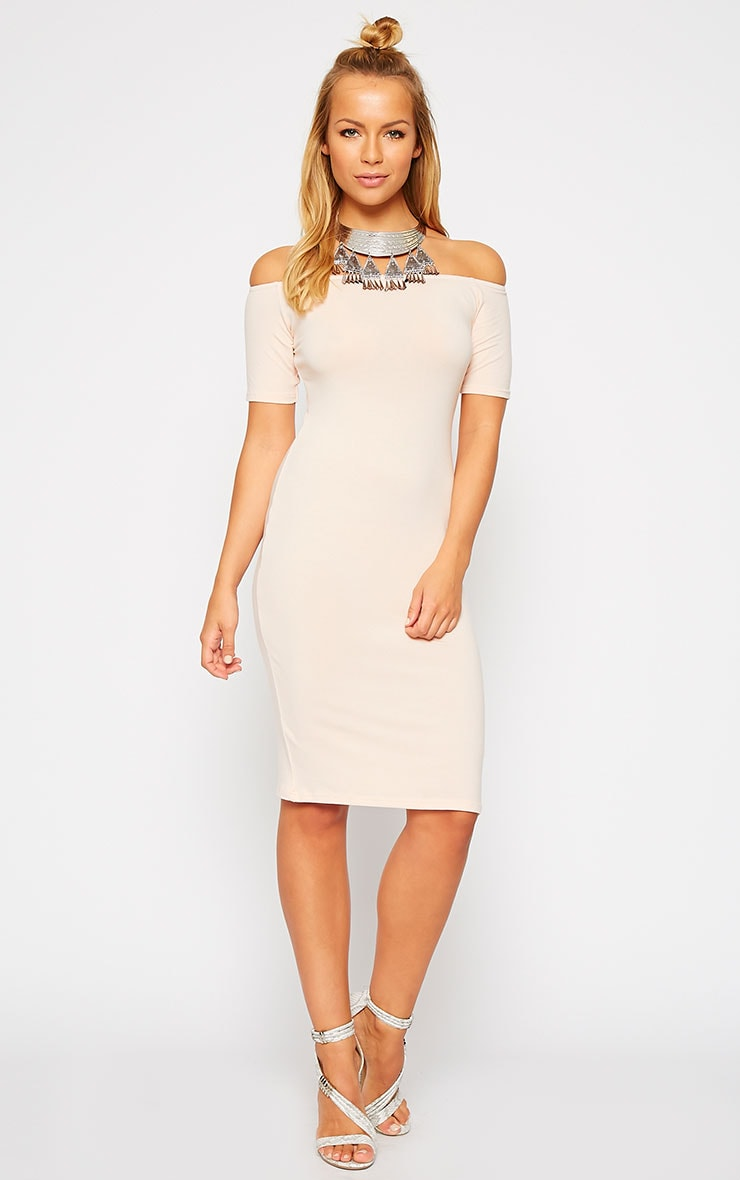 Caty Nude Jersey Bardot Midi Dress 1