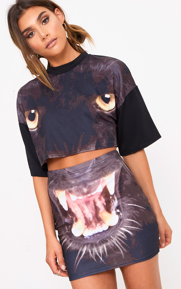 Black Panther Print Mini Skirt  1