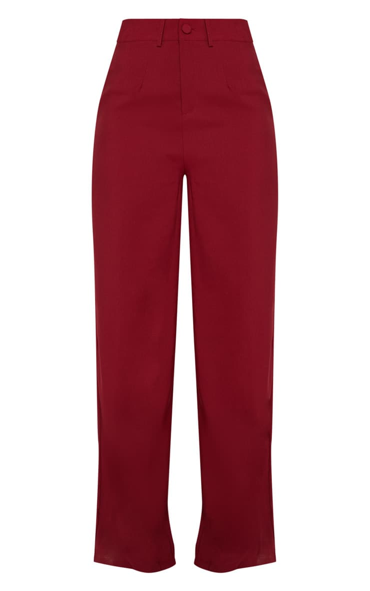 Burgundy Wide Leg Suit Trouser 3