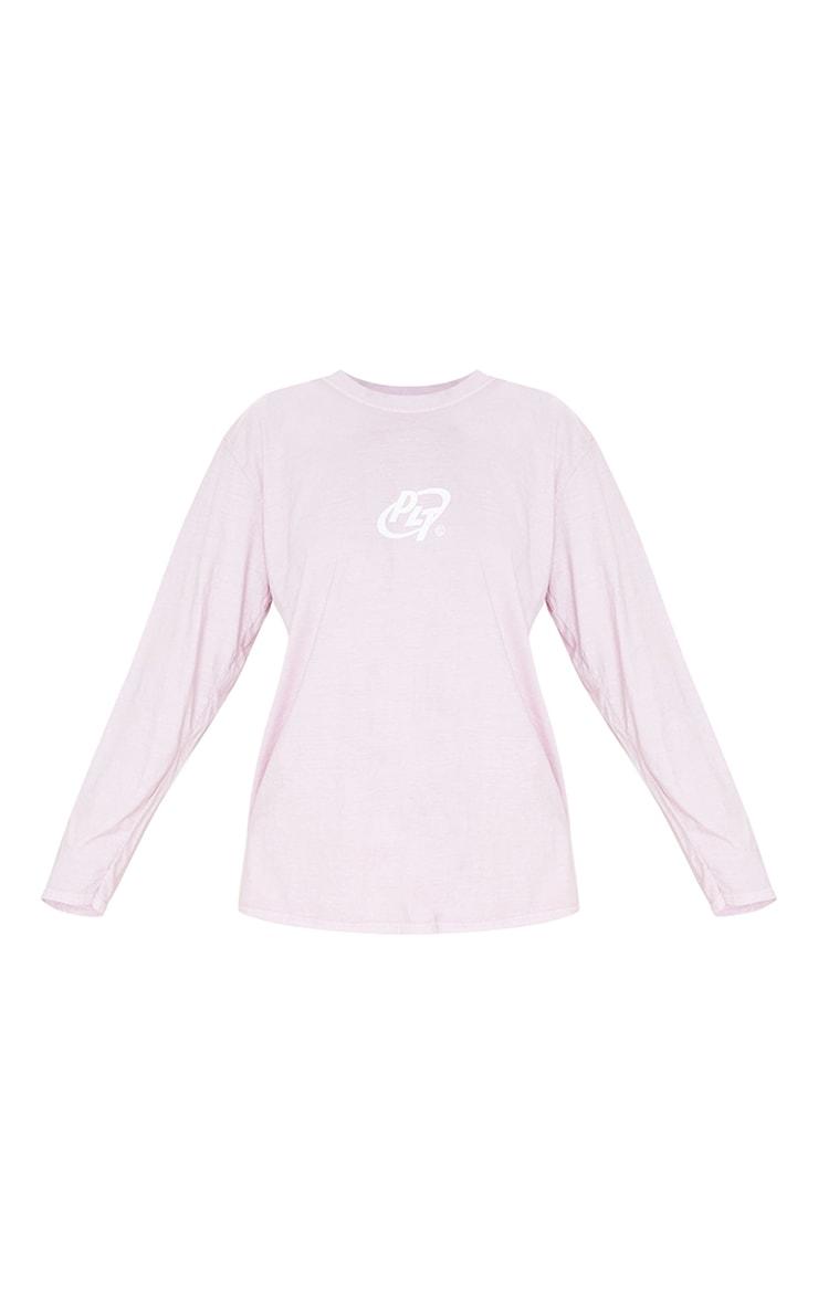 PRETTYLITTLETHING Pink Circle Logo Long Sleeve Washed T Shirt 5