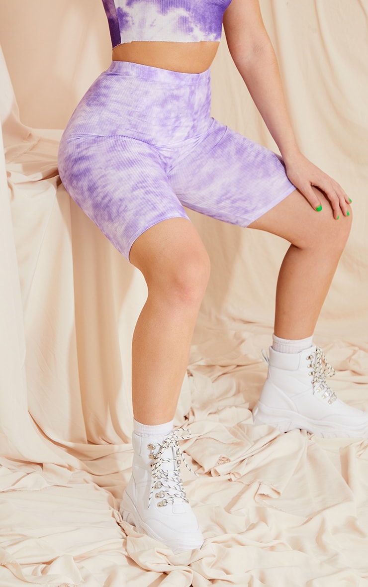 Lilac Tie Dye Rib Bike Shorts 1