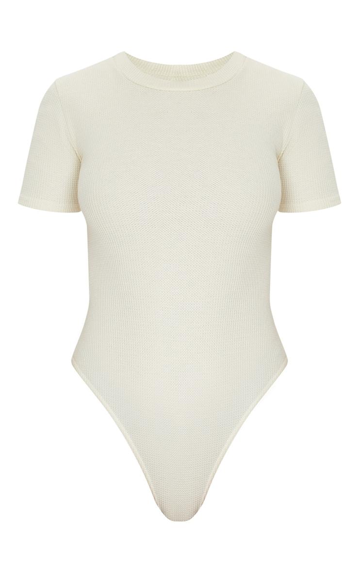 Sand Waffle Knit Short Sleeve Bodysuit 5