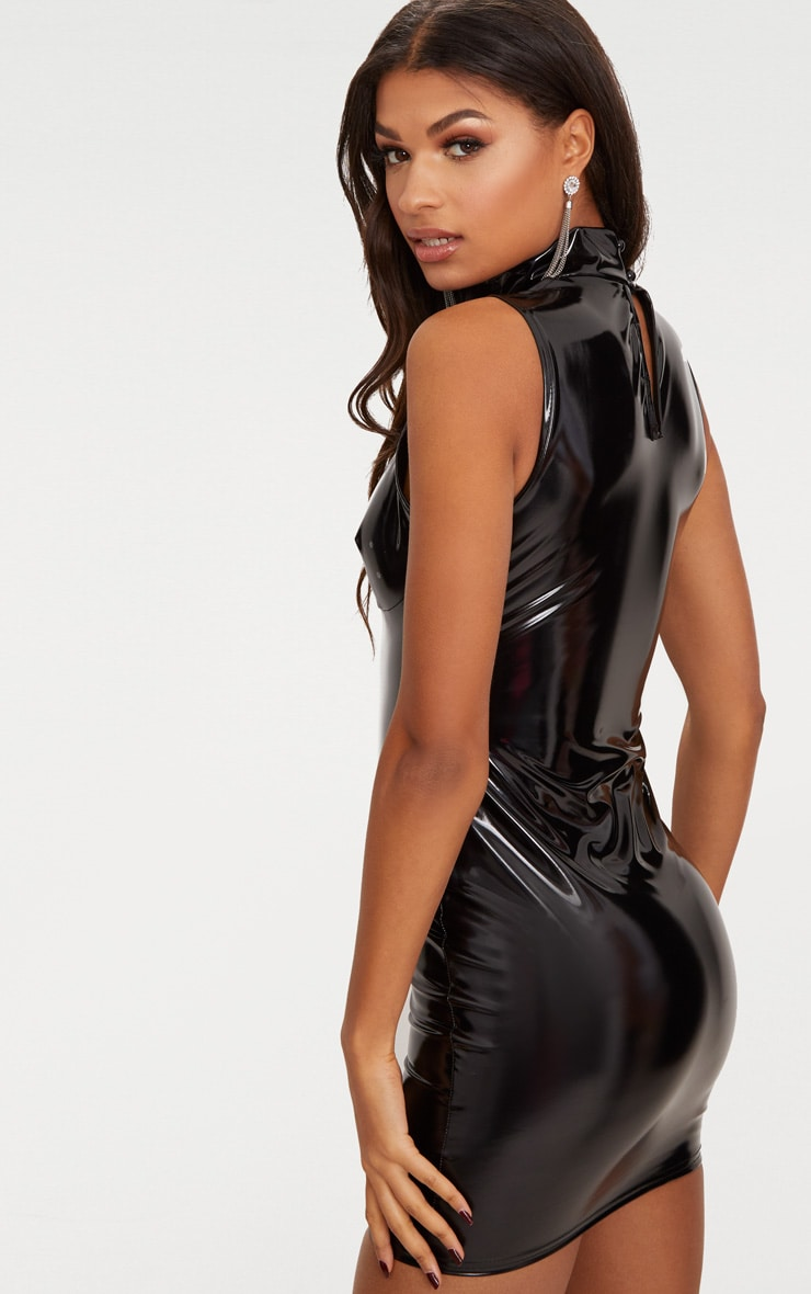 Black Vinyl High Neck Strap Detail Bodycon Dress 2