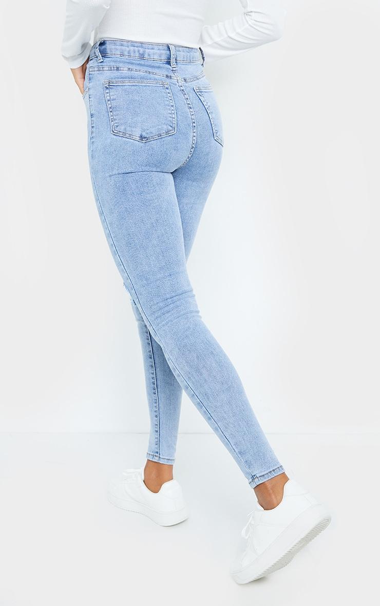 PRETTYLITTLETHING Vintage Wash Double Rip 5 Pocket Skinny Jean 3