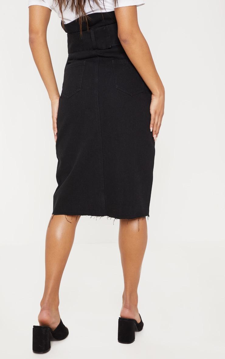 Black Belted Button Through Midi Skirt 4