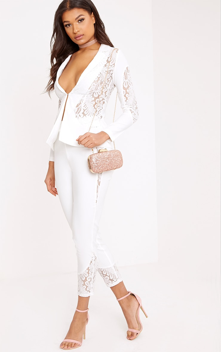 Mikaylah White Lace Insert Detail Suit Jacket 3