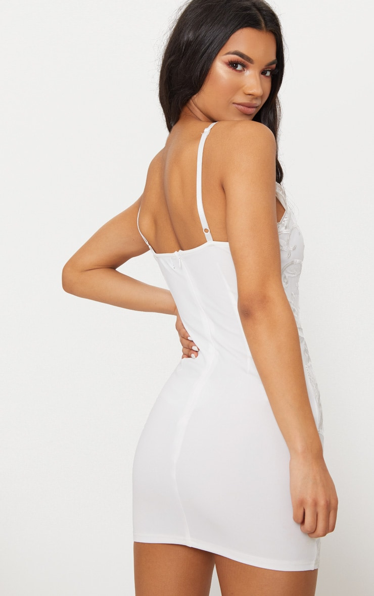 White Embroidered Lace Detail Plunge Bodycon Dress 2