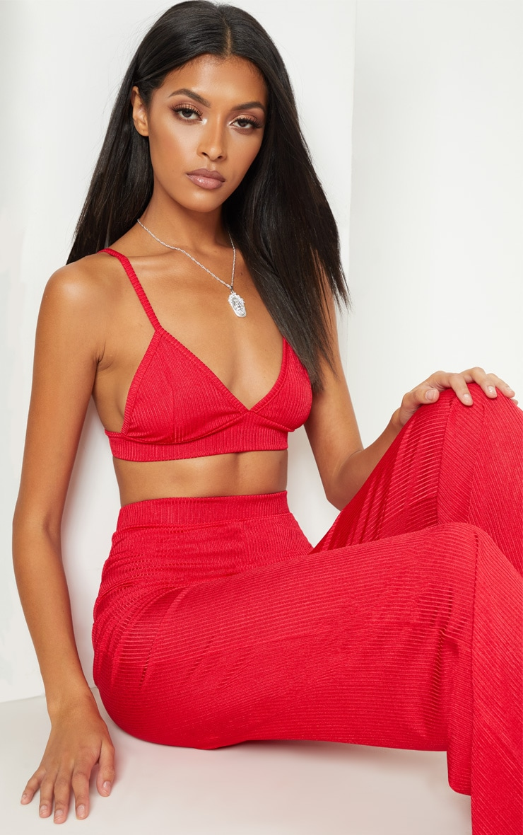 Red Rib Slinky Triangle Bralet