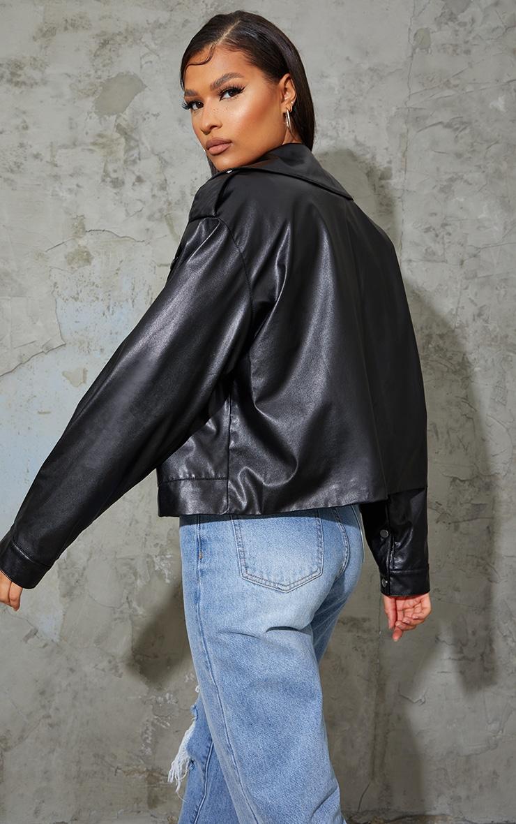 Black Faux Leather Pocket Front Jacket 2