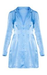 Bright Blue Button Front Collared Blazer Dress 3