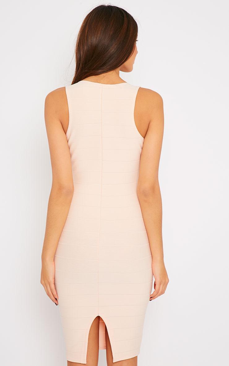Frankie Nude Deep V Bandage Midi Dress 2