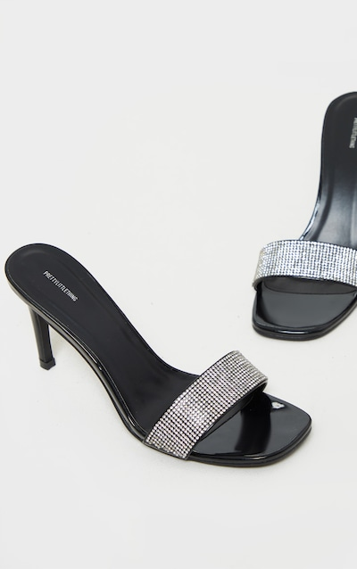 Black Diamante Low Heel Mule