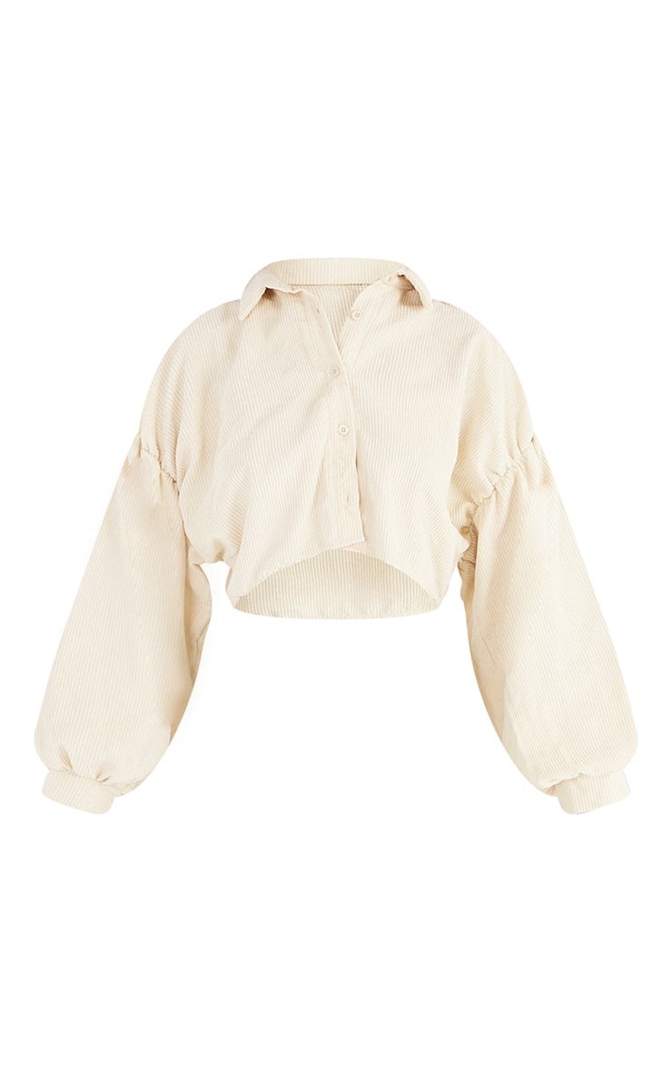 Tall Cream Cropped Heavy Cord Plunged Shirt 5