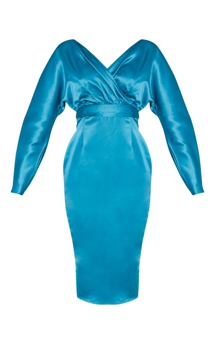 Petrol Blue Bonded Satin Bardot Puff Sleeve Midi Dress 3