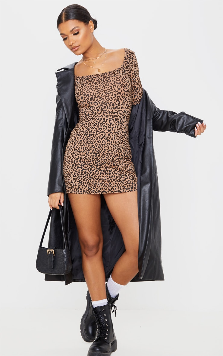 Brown Leopard Print Long Sleeve Square Neck Shift Dress  4