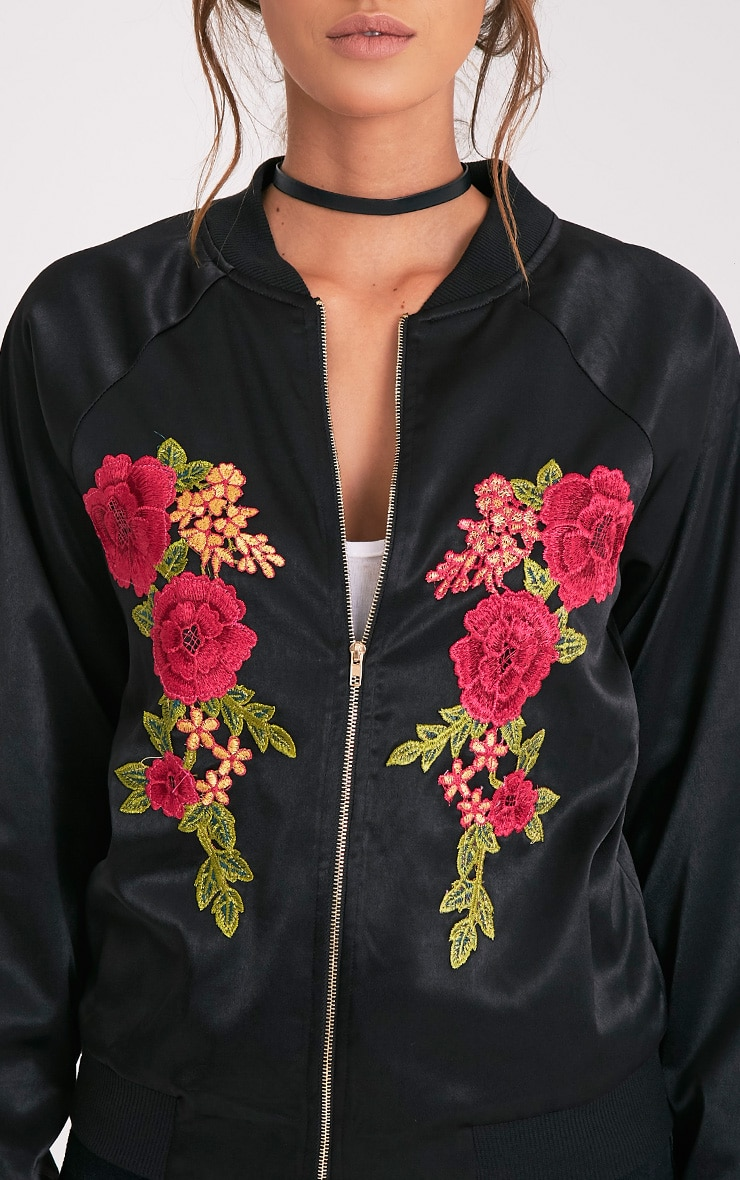 Challah Black Satin Applique Bomber Jacket 6
