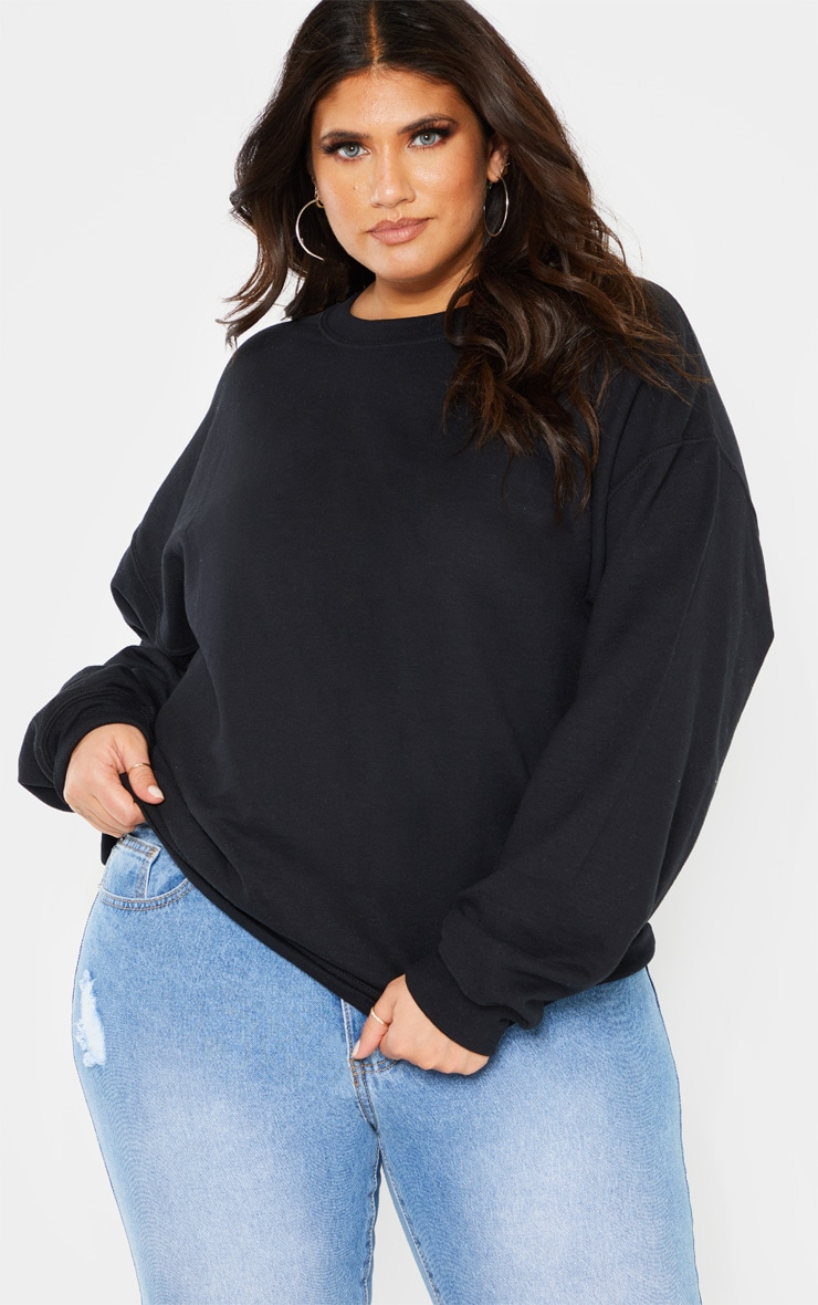 Plus Black Calabasas Print Oversized Sweater 1