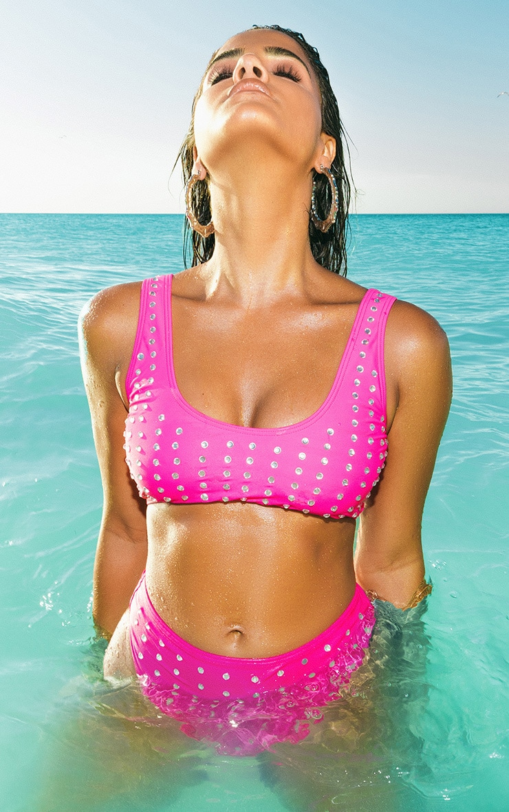 Premium Hot Pink Diamante Studded Scoop Neck Bikini Top 1