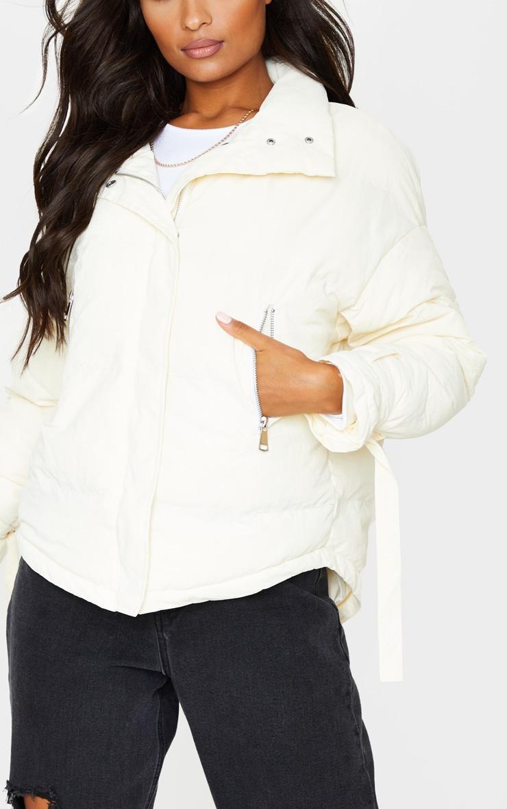 Cream High Collar Belted Wrist Panel Puffer Jacket 4